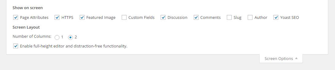 screenshot of screen options