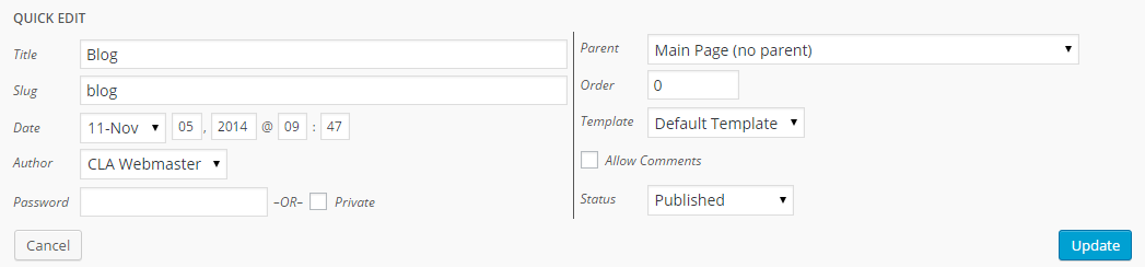 Screenshot of quick edit options