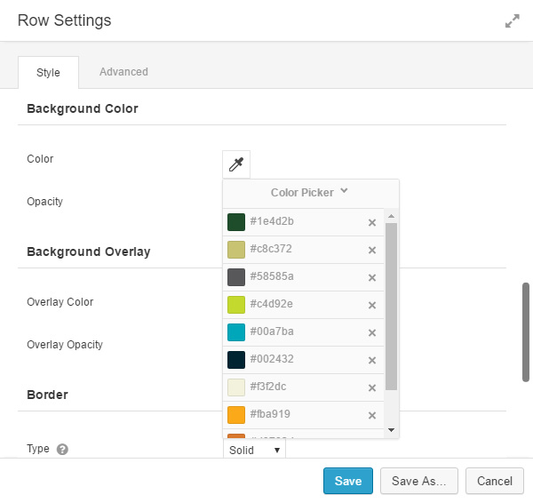 Screenshot - color presets