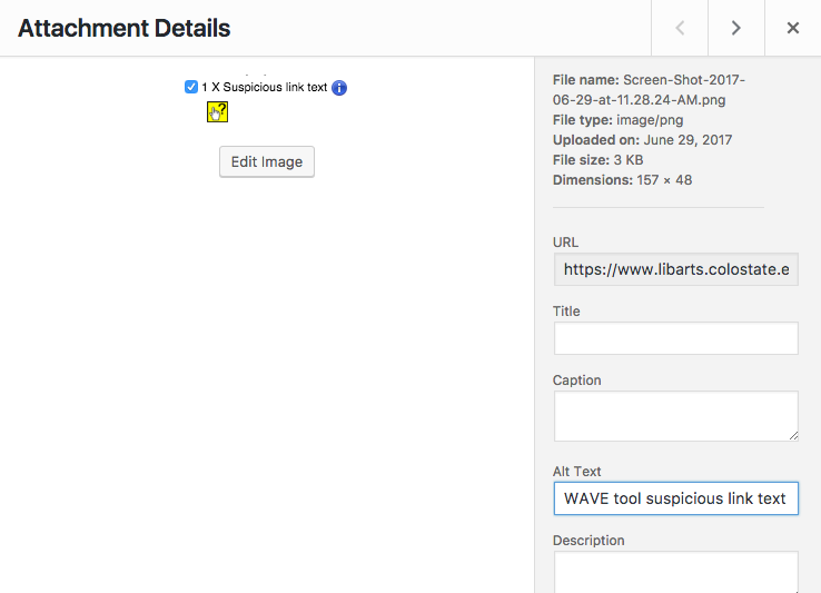 WordPress attachment details screenshot, showing where to add alternative text to images.