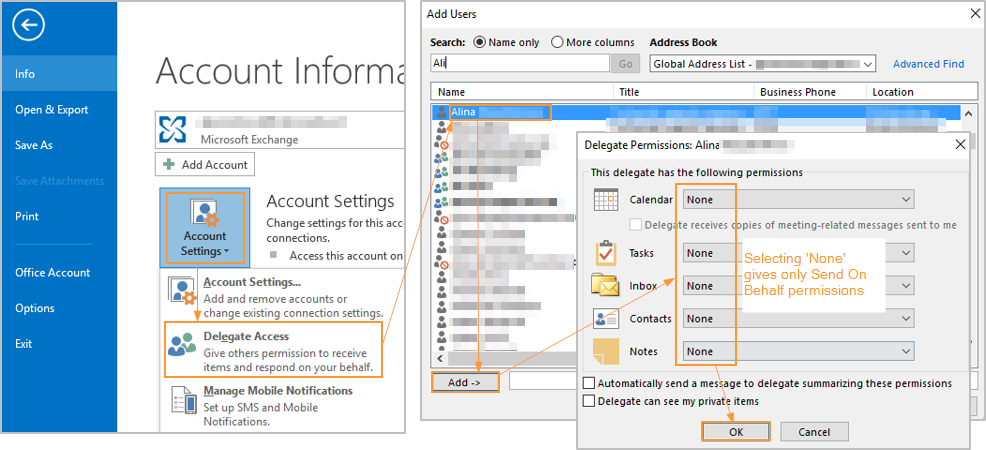 Screenshots - Granting permissions in Microsoft exchange